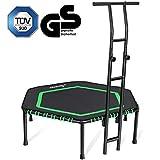 MOVTOTOP Fitness-Trampolin mit haltegriff, Ø122cm Trampolin für Jumping Fitness Körpertraining und Cardio Workouts, Trampolin Indoor Erwachsene und Kinder- Bs120kg (Schwarz)