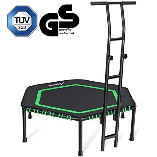 MOVTOTOP Fitness-Trampolin mit haltegriff, Ø122cm Trampolin für Jumping Fitness Körpertraining und Cardio Workouts, Trampolin Indoor Erwachsene und Kinder- Bs120kg