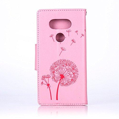 SainCat Coque Etui pour LG G5, LG G5 Coque Dragonne Portefeuille PU Cuir Etui, Coque de Protection en Cuir Folio Housse, SainCat PU Leather Case Wallet Flip Protective Cover Protector, Etui de Protect pissenlit diamant,Rose