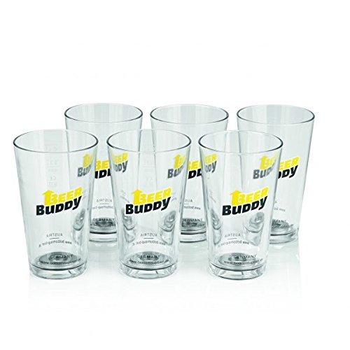 Beer Buddy Becher-Set Glas 6 Mehrwegbecher aus Glas und 12 Magneten 0,4L - Für die BEER Buddy Zapfanlage