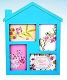 GUTEINTE Cornice Multipla da Parete a Forma di Casa - 4 Foto 10 x 15 cm / 4' x 6' - Home & Love (Azzurro)