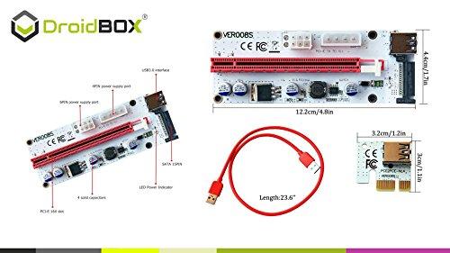 6-Pack PCIe VER 006C 16x bis 1x Powered Riser Adapterkarte mit 60cm USB 3.0 Verlängerungskabel & 6-Pin PCI-E zum SATA Netzkabel – GPU Riser Adapter – Ethereum Mining ETH - 2