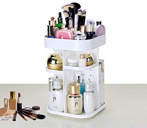 House of Quirk 360 Degrees Rotating Plastic Cosmetic Storage Box Table Top Storage Rack Plastic Storage Cabinet Skin Care Products - ASSORTED