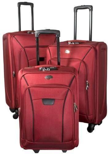 PMro-Trading Euro-Trading Copenhagen Suitcase 3 Pieces. Size-78 X 45 Cm. Colour-Red Valise. 78 cm. 83 liters. Rouge (Red)