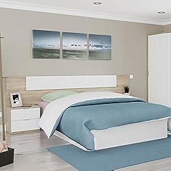 Habitdesign 016075F - Cabezal y mesitas de Noche, Acabado en Color Roble Canadian y Blanco Artik, Medidas: 247x95x34 cm de Fondo