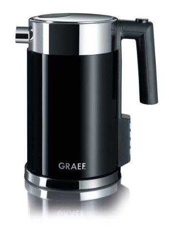 Graef Edelstahl Wasserkocher WK 702 mit Temperatureinstellung / Handbrüh-Taste für Filterkaffee / Edelstahl-Acryl, schwarz