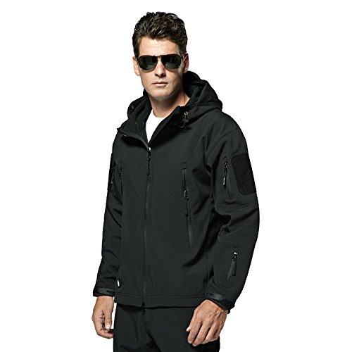 Webetop giacche uomo shark skin Tactical softshell giacca impermeabile per lo sport esterno, 9 colori, 5 formati, Nero L Taglia