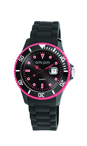 AM:PM Herren-Armbanduhr PM139-G221 Kunststoff Gehäuses Schwarz Silikon Armband Quartz