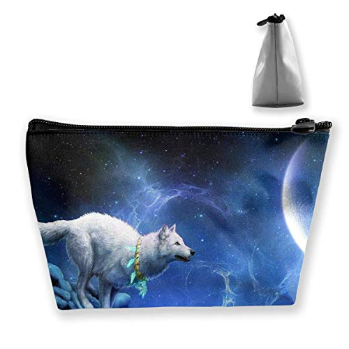 White Wolf Near Moon - Trapezförmige Frauenkosmetiktaschen - Aufbewahrungstasche für Multifunktionswäsche