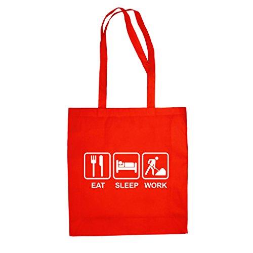 Baumwolltasche Jutebeutel -- Eat Sleep Work fuchsia-weiss