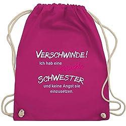 Shirtracer Geschwisterliebe Kind - Ich hab eine verrückte Schwester - Unisize - Fuchsia - WM110 - Turnbeutel und Stoffbeutel aus Bio-Baumwolle