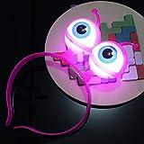 Diadema con Luces LED con Gafas, Diadema Intermitente Feliz, Diadema Intermitente de Halloween, Rosa, Tamaño Libre