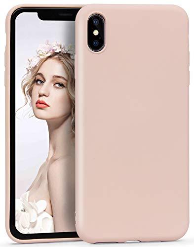 Imikoko® Hülle für iPhone X/XS Hülle Matt Silikon Dünn HandyHülle Stoßfest Slim Gummi Schutzhülle Kratzfest Proctive Back Case Cover Microfaser(Rosa) -