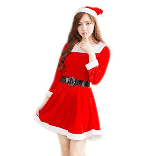 GSDZN - Weihnachtsdamen, Damen Weihnachtsmann Kleidung, Süße Weihnachtsmädchen Verkleiden Sich, Weihnachts Damen Kleid, Hut, Rock, Einheitsgröße, S-XL
