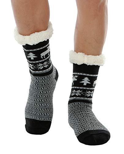 c7e84c21c115b8 WYTartist Mens Slipper Socks Fuzzy Warm Fleece Lined Non-Skid Soles Thick  Heavy Christmas Deer