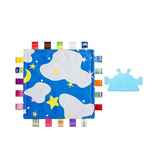 INCHANT Bunte Baby-Sicherheit Blankie Taggy Decke & Blue Sicherheit Zahnen Nursing Roboter Beißring Spielzeug, 2 Stück (2 Stück Tröster)