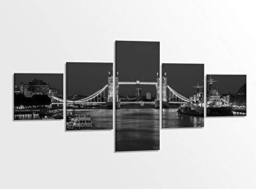 Leinwandbild 5 tlg. 200x100cm schwarz weiß London Skyline Tower Bridge Brücke England Bilder Druck auf Leinwand Bild Kunstdruck mehrteilig Holz gerahmt 9AB1110