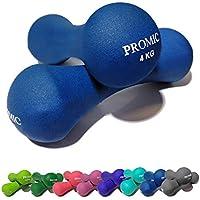 Juego de 2mancuernas de neopreno de Promic en set de 0,5–5kg para hombre y mujer, para entrenamientos de fuerza, color 2 x 4 kg - Dunkelblau, tamaño 2 x 4 kg, 8.82