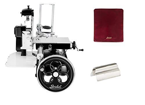 Berkel - Schwungrad B3 - Schwarz mit Silbernen Verzierungen - Geblühtes Schwungrad + Roter Slicer Deckel + Schinkenzange