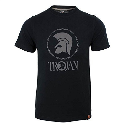trojan-records-t-shirt-mens-negro-casco-logo-cuello-redondo-top