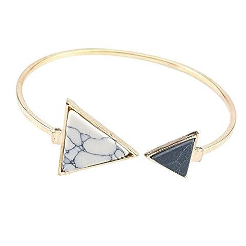 Chaîne LILICAT Bracelet d'ouverture en turquoise asymétrique unique en géométrie ajustable (Blanc Triangle)