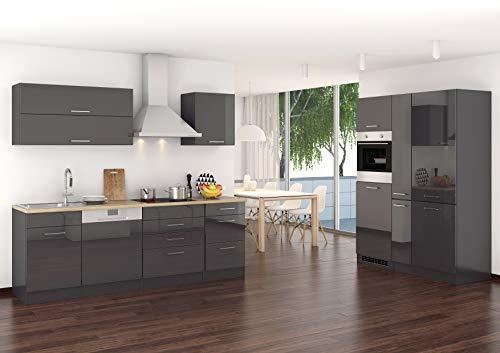Wohnorama Küchenblock 390 inkl E-Geräte von PKM, Kühl/Gefrierkombi, autark (5 TLG) Mailand von Held Möbel Graphit/Eiche Sonoma by