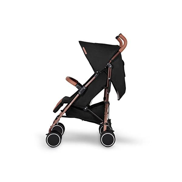 Ickle Bubba Baby Discovery Max Stroller| Lightweight Stroller Pushchair | Compact Fold Technology for Easy Transport and Storage | UPF 50+ Extendable Hood | Black/Rose Gold Ickle Bubba ONE-HANDED 3 POSITION SEAT RECLINE: Baby stroller suitable from 6 months to 22kg. 4 years old; features luxury soft quilted seat liner, footmuff, cupholder, and rain cover UPF 50+ RATED ADJUSTABLE HOOD: Includes a peekaboo window to keep an eye on the little one; extendable hood-UPF rated-to protect against the sun's harmful rays and inclement weather LIGHTWEIGHT DESIGN WITH COMPACT FOLD TECHNOLOGY: Easy to transport, aluminum frame is lightweight and portable-weighs only 7kg; folds compact for storage in small places; carry strap and leather shoulder pad included 5