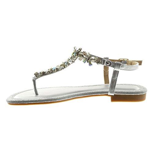 Infradito gioiello da donna colore argento fibbia alla caviglia tacco cm 15