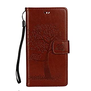 BoxTii Sony Xperia XZ Premium Wallet Case, PU Leather Tree Embossing Anti-Scratch Cover with [Free Tempered Glass Screen Protector] [Card/Cash Slots] for Sony Xperia XZ Premium (Brown)