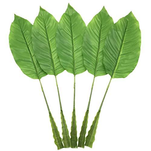 Blättern Fake Faux Künstliche Blätter Grün Single Palm für Home Küche Party Supplies Tropical Leaves Dekorationen (58,4cm) 61cm Lichtgrün ()