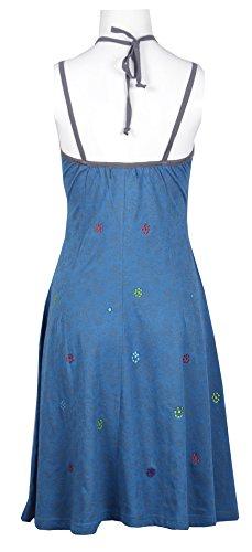Été de la femme Slip robe avec motif de fleurs Imprimer Bleu
