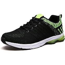 ZapatillasRunningpara Hombre Aire Libre y Deporte Transpirables Casual Zapatos Gimnasio Correr Sneakers Verde 40