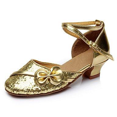 Frauen Tanzschuhe Paillette Synthetische Latin Sneakers Kundenspezifische Ferse Innen Gold