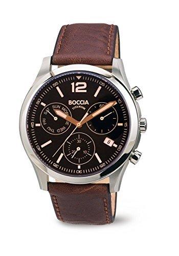 Boccia - 3757-01 - Montre Homme - Quartz - Chronographe - Bracelet cuir Marron