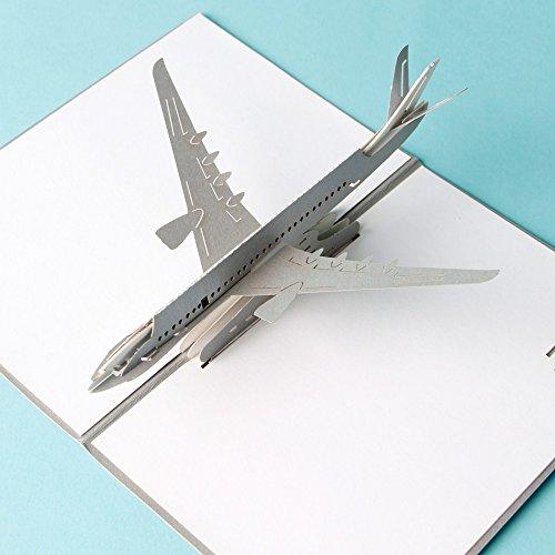 uniqueplus Avión Creative 3d Pop Up Cards-Tarjetas de regalo de felicitación para cumpleaños o cualquier ocasión