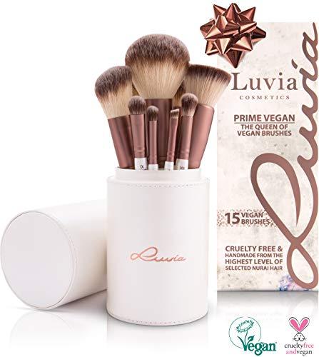 Luvia Pinsel-Set Prime Vegan - 15 Schminkpinsel inkl. Make Up Pinsel Aufbewahrung - Erlebe ein neues Beauty-Gefühl - Perlmutt/Coffee - Liebenswertes Weihnachtsgeschenk für Frauen zu Weihnachten