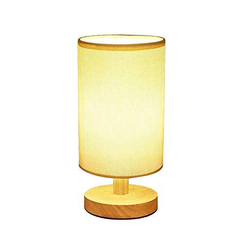 Yankan semplice lampada da tavolo, retro in legno massello e tessuto ombra illuminazione stile relax per mdf comodino, lampada da scrivania contemporanea livi ng camera, studio, baby room (cilindrica)