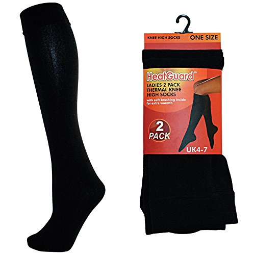 Ladies 2 Pack Black Thermal Knee High Socks Tights Leg Warmers Winter 140D Thick