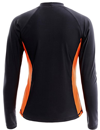 ALove Damen Rashguard UV Shirt Langarm Badeshirt UV Schutz 50+ Schwarz