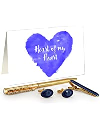 TiedRibbons® Special Gifts For Husband Golden Cufflinks,Tiepin And Pen Combo Set With Valentine's Special Greeting...