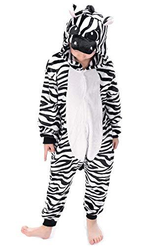 DATO Kinder Pyjamas Tier Zebra Overall Flanell Cosplay Kostüm Kigurumi Jumpsuit für Mädchen und Jungen Hohe 90-148 cm (Kleine Zebra Mädchen Kostüm)