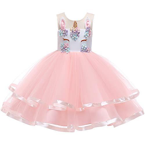 che Kleider Mädchen Einhorn Kostüm Karneval Weihnachten Allerheilige Geburtstag Geschenk Baby Kinder Prinzessin Kleid 6-7 Jahre ()