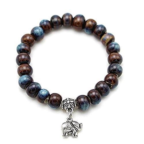 Unisex Bohemian pulsera de perlas con tibetana elefante encanto