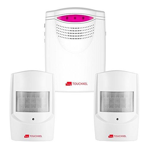 Drahtloser Infrarot Bewegungsmelder, TOUCHXEL Auffahrts-Alarmset 1 Batteriebetriebene Empfänger und 2 Wetterfesten PIR Bewegungsmelder - Motion Sensor Alarm