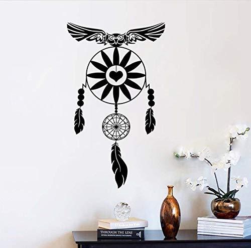 xlei Etiqueta De La Pared Owl Wall Stickers Dream On Catcher Feathers Decoración para El Hogar Religiosos Creer Arte De La Pared Tatuajes De Dormitorio Símbolo De Protección Decoration98X59Cm