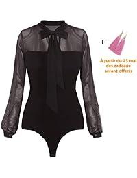 Solike Femmes Bodysuit Jumpsuit Combinaisons Sexy Manches Longue Bowknot Transparent Bodycon Nuisette Bodys Party Justaucorps Corset Barboteuse Hauts