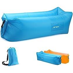 JSVER Sofa Gonflable d'air de Transat de avec Le Paquet Portatif pour Voyager, Camping, Randonnée, Piscine et Parties de Plage (Bleu)