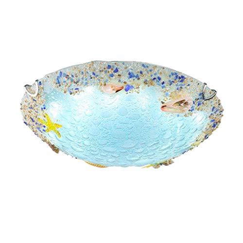BDPDLT LED Dimmbar Deckenleuchte Mittelmeer Seashell Kreative Deckenlampe Modern Einfache Blau Ozean Wohnzimmer lampen Ø50cm 30W