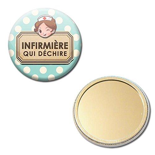 Infirmière qui déchire Miroir de poche 56mm ( Idée Cadeau Médical Hôpital Remerciement Noël Anniversaire )