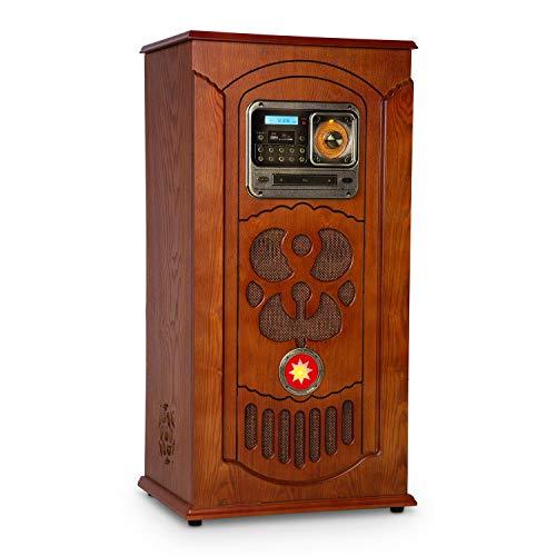 Auna Multimedia Musicbox • Jukebox Retró • Giradischi • Lettore CD • MP3 • BT e USB • SD • Sintonizzatore FM • Illuminazione LED • Legno • Marrone